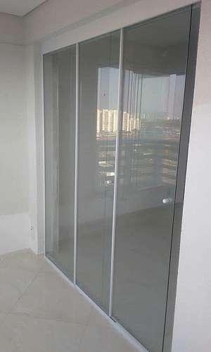 Porta de vidro temperado de correr